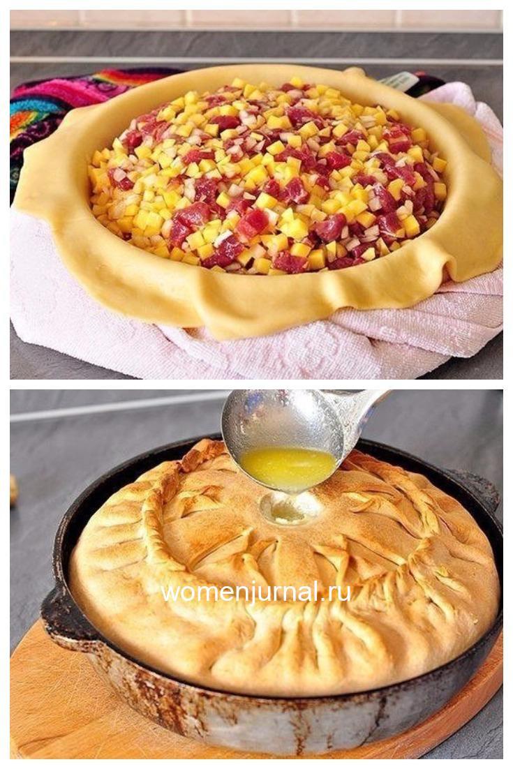 Зур бэлеш - татарский пирог с картофелем и мясом