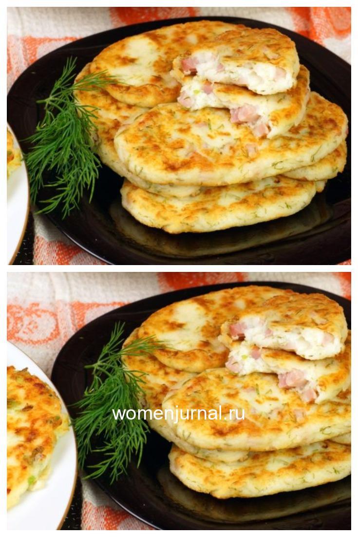 Быстрые сырные лепешки с ветчиной