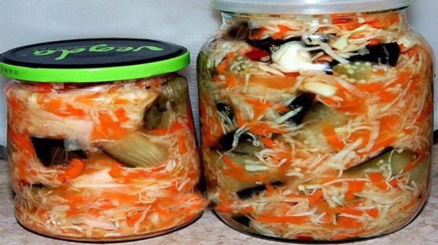 Рецепт быстрой маринованной капусты с баклажанами. Объедение 1